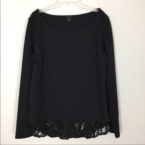 Ann Taylor • Black Top With Lace Hem